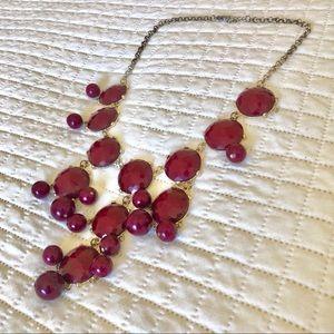 Francesca's Maroon Bauble Statement Necklace